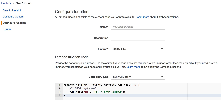 Lambda Configure function